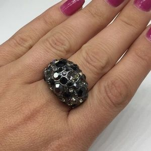 Fossil Domed Crystal Rhinestone Ring Size 7